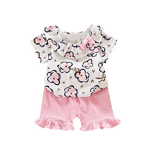 Sommer Kinderkleidung Hirolan 2 Stück Taufbekleidung Säugling Babykleidung Mädchen Playsuit Kinder jogginganzug Blumen Drucken Oberteile + Shorts Outfits Kleider Trainingsanzug (12M-80CM, Rosa) -