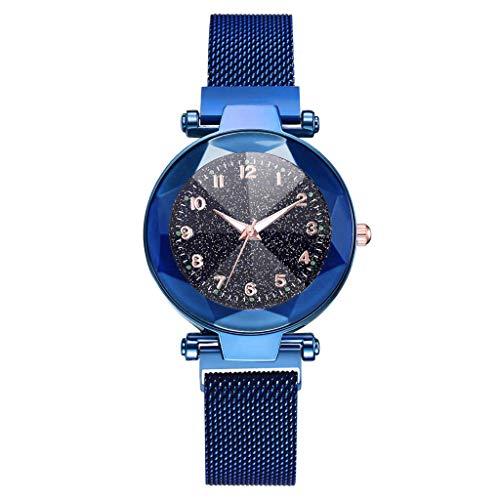 EUCoo Frauen Quarz Uhr Starry Konvexen Glas Diamant Winkel Textur Mesh Mit Magnetschnalle Damenuhr(Blau)