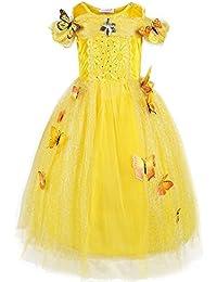 Pettigirl Niña Princesa Mariposas Lujoso Vestir Manga larga