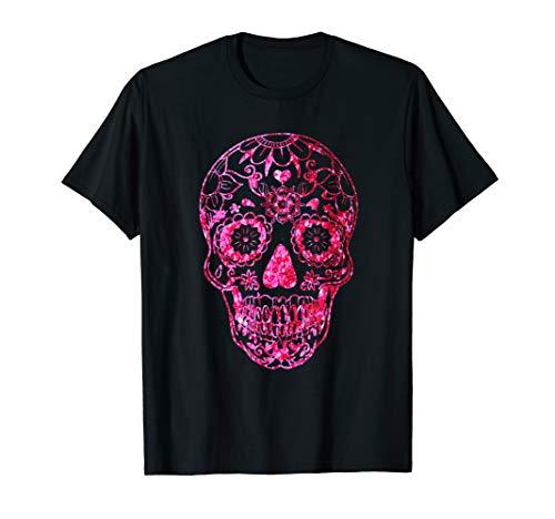 Zucker Schädel Rosa Halloween Kostüm Geschenk T-Shirt