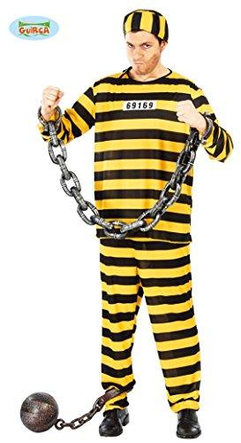 gelb schwarz gestreifter Sträfling Kostüm für Herren Gr. M/L, (Kostüm Ideen Häftling)