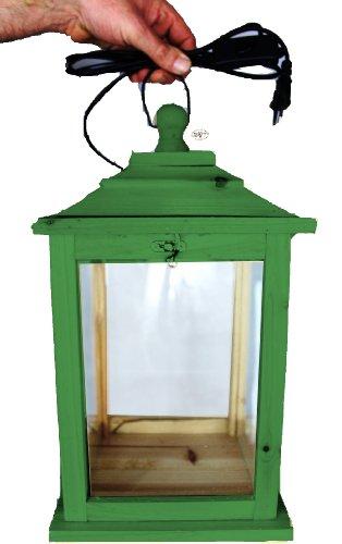 Große Holzlaterne, als Glasvitrine mit Beleuchtung, mit Glas und Holz - Rahmen, KL-OFOS-GRASGRÜN aus Holz No-1 grasgrün amazon grün dunkelgrün mit Lasur lasiert auf Wasserbasis