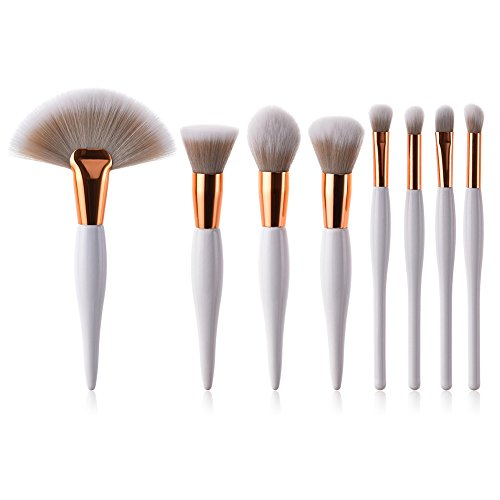Emorias 8 Pcs Conjunto Cepillos para Maquillaje Brochas de Polvos Profesional Mujer Kit Pinceles Maquillaje Set Base Cosmetica