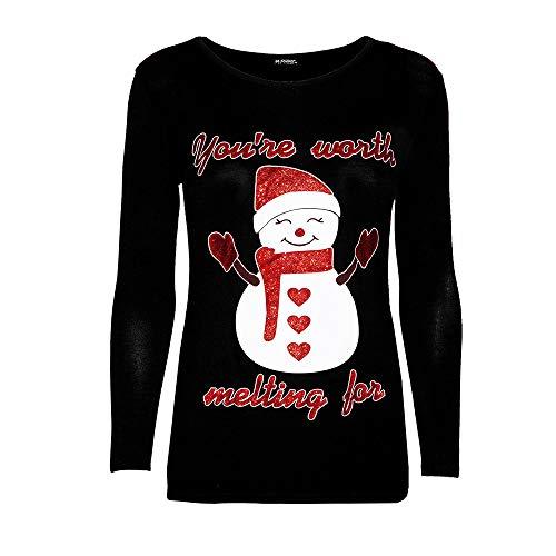 OverDose Damen Weihnachten Frauen Reißverschluss Dots Print Tops Mit Kapuze Sweatshirt Pullover Bluse T-Shirt Home Party Schlank Täglich Karneval Outwear