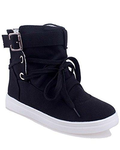 Minetom Mujer Otoño E Invierno Botas Hebilla Sólida Lona High Top Zapatos Cargadores Cómodo Botines Negro EU