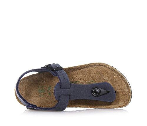 BIRKENSTOCK - Blaue Flip-Flops aus Nabukleder mit Fußbett aus Kork, Schnallenverschluss und anatomische Sohle, Jungen-29 -