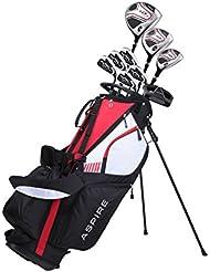 Aspire XD1Herren Golf Komplett Set inkl. titan Driver, S.S. Fairway, S.S. Hybrid, S.S. 6-pw Eisen, Putter, Ständer Tasche, 3H/C 's Right Hand (Rechte Hand)