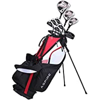 Aspire XD1 Men's Complete Golf Clubs Package Set Includes Titanium Driver, S.S. Fairway, S.S. Hybrid, S.S. 6-PW Irons, Putter, Stand Bag, 3 H/C's Right Hand (Right Hand)