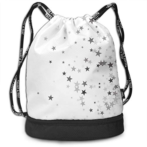 Multipurpose Drawstring Bag for Men & Women, Falling Stars Pattern Greyscale Composition Celebration Party Inspired Design,Tote Sack Large Storage Sackpack for Gym Travel Hiking