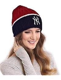 DRUNKEN NY Women's Winter Beanie Warm Knitt Woollen Cap Red Navy, Free Size