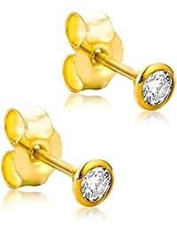 Orovi Ohrstecker Ohrringe Set ,Damen GelbGold Ohrstecker mit Diamant 14Karat (585) Brillianten 0.20crt