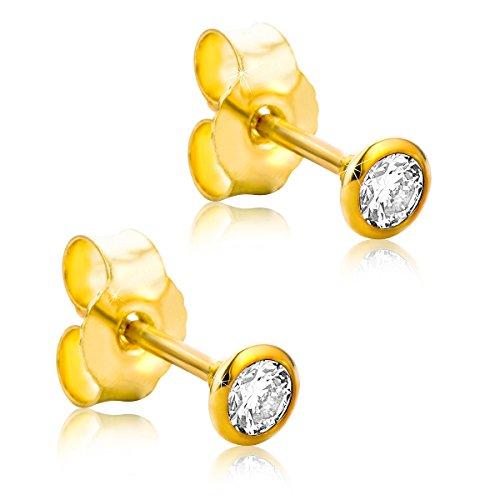 Orovi Ohrstecker Ohrringe Set,Damen GelbGold Ohrstecker mit Diamant 14Karat (585) Brillianten 0.20crt