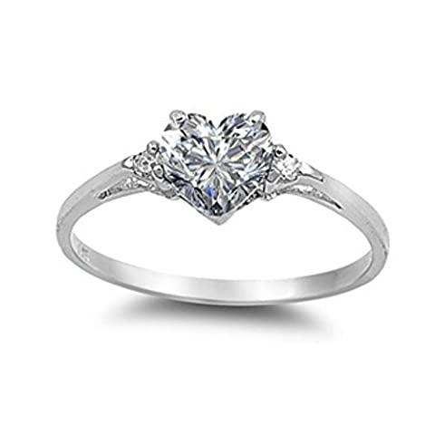 925 Sterling Silver Heart Shaped Cubic Zirconia Ring (F)