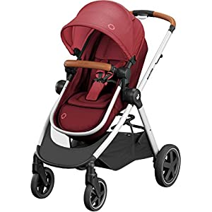 Maxi-Cosi Zelia Baby Pushchair, Lightweight Urban Stroller from Birth, Travel System with Bassinet, 15 kg, Essential Red   2