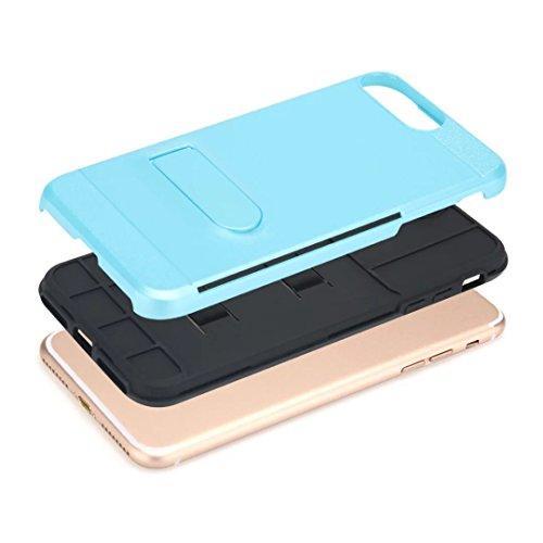 """iPhone 7 Plus Coque,Lantier Multifonctionnel Fashion brossé Metal Design Slim Fit Dual Layer robuste Cover Defender avec Béquille et fente pour carte pour iPhone 7 Plus 5.5"""" Rose vif Mint Green"""