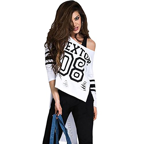 meinice Stampa Elegante Rosa a maniche lunghe Retro Shirt White Medium