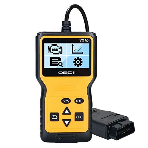 Arespark OBD2 Diagnosegerät Auto, OBDII Diagnosescanner Universal Diagnosewerkzeug, Fahrzeug Fehlercodeleser, 16-Pin OBDII-Schnittstelle, 6 Sprachen, Lesen/Löschen Fehlercode und Batterie Test