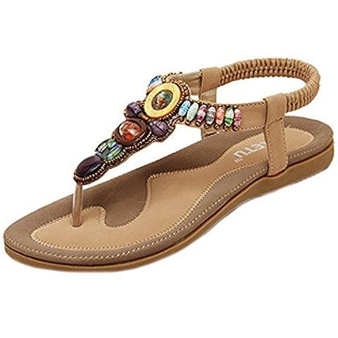 Oasap Women's Boho Rhinestones Embellishment Y-Strap Thong Sandals For Women