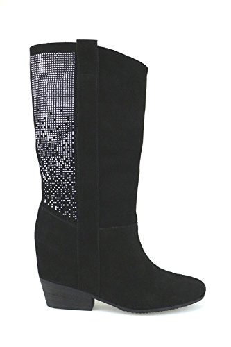 JANET & JANET AK982 stivali donna nero camoscio / strass (35 EU)