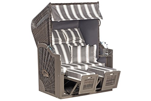 Strandkorb Rustikal 285 Z SUN von SUNNY SMART aus Akazienholz in Ostseeform, ca. 125 x 85 x 160 cm, 2-Sitzer, grau anthrazit 1214, verstellbarer Kunststoffkorb, Fußstützen, Kissengarnitur, stabil