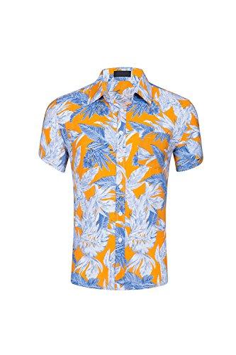 Zonsaoja-Camisa-Casual-Hombres-Camisas-Hawaianas-Aloha-Playa-Floral-Tee-Yellow2-XXL