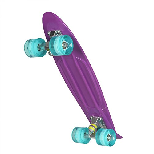 WeSkate Cruiser Skateboard Komplett 55cm Mini Retro Skate Board blinkenden LED-rollen