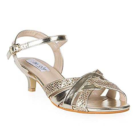 SheSole Womens Ladies Glitter Low Heel Sandals Wedding Evening Prom Dress Shoes Gold UK 4