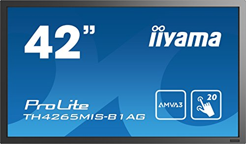 iiyama ProLite TH4265MIS-B1AG 106,7cm (42 Zoll) AMVA3 LED Großformat-Display Full-HD 20 Touchpunkte IR-Multitouch (VGA, 3xHDMI, USB2.0, RS232, RJ45, RCA, IR, AntiGlare Beschichtung) schwarz