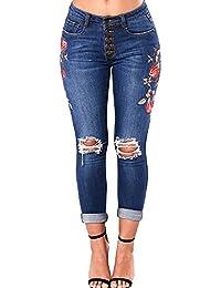Pantalones Rotos Mujer Largos Sannysis Vaqueros Rotos Mujer Cintura Alta 21af5a2d40cc5