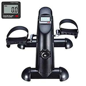 FITODO Mini Exercise Bike Pedal Exerciser with LCD Monitor and Anti-slip Mat for Leg and Arm Exercise