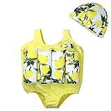 LPATTERN Kinder Jungen/Mädchen Bojen-Badeanzug- 2 Teilig Badebekleidung (Einteiler Badeanzug mit entnehmbar Polster+ Mütze), Zitrone Gelb, 116/122(Herstellergröße: XXL)