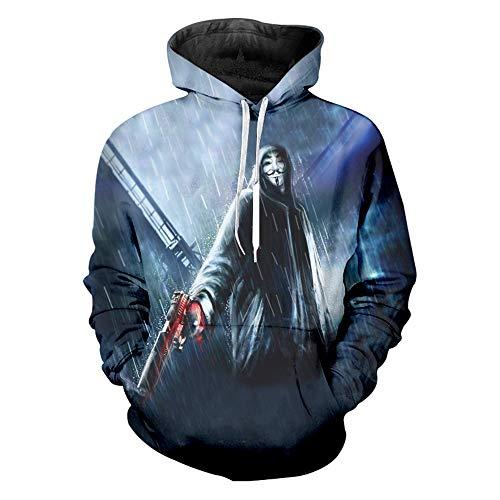 Oraycm Unisex Anime Cosplay Langarm 3D Print Sweatshirt Hoodie Strickwaren Kapuzenpullover Kapuzenjacke Zipper V for Vendetta L