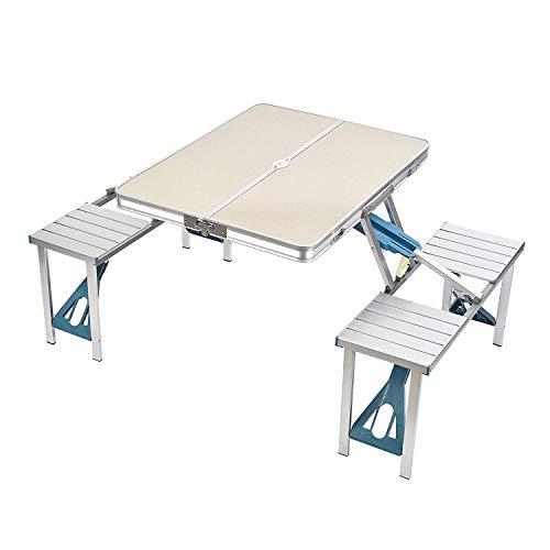 ZIHENGUO Table de Pique-Nique et chaises réglées, Tables Pliantes portatives de Camping, Bureau imperméable en Alliage d'aluminium pour la Plage extérieure de Jardin BBQ,Silver