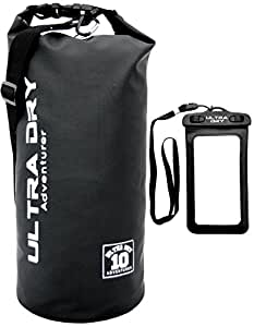 Premium Waterproof Bag, Sack with phone dry bag and long adjustable Shoulder Strap Included, Perfect for Kayaking/Boating/Canoeing/Fishing/Rafting/Swimming/Camping/Snowboarding (black, 10 L)