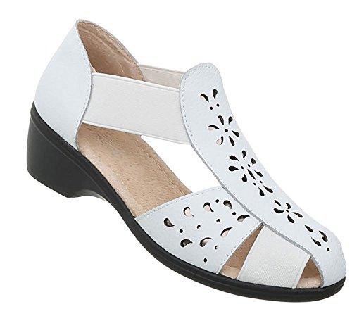 Damen Schuhe Sandalen Echtleder Pumps Sommersandale Strandsandale Badeschuhe Weiß 39