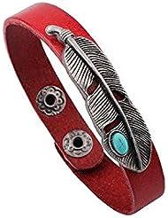 &ZHOU pulseras,2pcs, turquesa de la aleación de jade pulsera de piel, joyería, pulsera creativa, regalos creativos , red