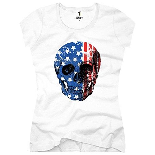 TEE-Shirt, Damen T-Shirt mit Aufdruck. Coole Motive. T-Shirt mit Totenkopf - Flagge - USA Druck. Weiß