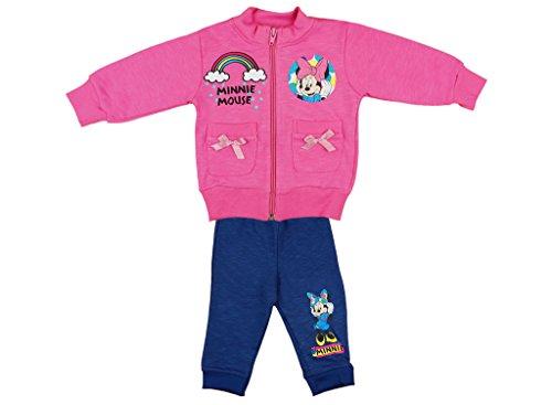Disney Minnie Mouse Mädchen- Baby- Sport-Anzug zweiteilig, Sweat-Jacke mit Langer Hose, GRÖSSE 86, 92, 98, 104, Jogging-Anzug zum Wohlfühlen, Freizeit-Anzug, in Rosa/Blau Größe 98 -