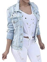Longra Damen Jeansjacke Biker Style Classic Jeans Jacket Blue Denim Jacke  Blau Jeans Damenjacke Übergangsjacke im Used… 23c9641059