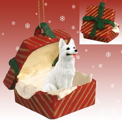 White German Shepherd Red Gift Box Christmas Ornament by Conversation Concepts -