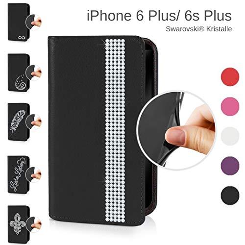 eSPee Handyhülle kompatibel mit Apple iPhone - 6 Plus / 6s Plus - unzerbrechliche Schutzhülle aus Silikon mit Swarovski Kristallen Borte Magnetverschluss und Fach in Schwarz - Swarovski Crystal Iphone Case