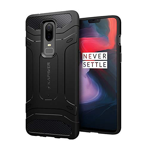 KAPAVER OnePlus 6 Case Premium Tough Rugged Solid Black Shock Proof Slim Armor Back Cover Case for One Plus 6 (Rugged) (Rugged)