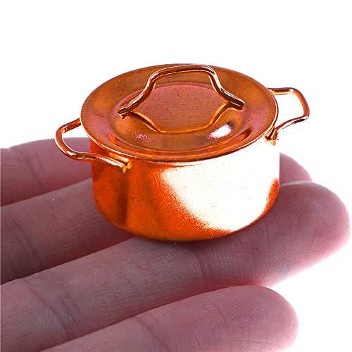 Ruby569y Puppenhaus-Zubehör für Heimwerker, Miniatur-Küchen, Kochtopf-Dekoration, Zubehör mit Deckel für Puppenhaus-Puppe - goldfarben
