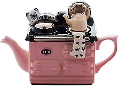 en céramique Inspirations Aga fantaisie rose Théière, 1tasse avec chat et bouilloire
