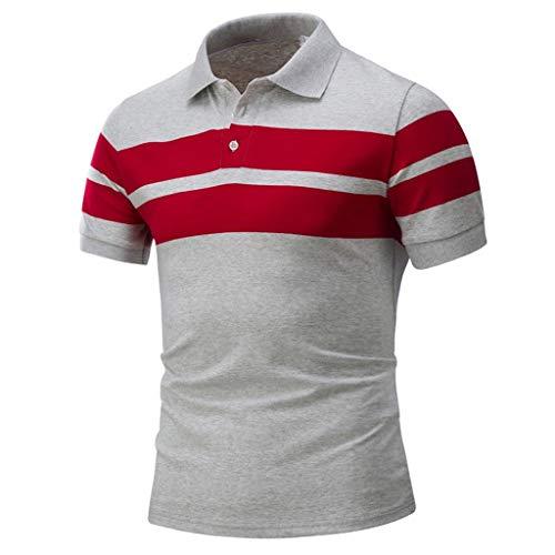 Celucke Polohemden Herren Poloshirt Männer Polohemd Streifen Details, Streifenshirt Slim Fit Basic Hemd Polo Shirt Kurzarm (Grau,L) -