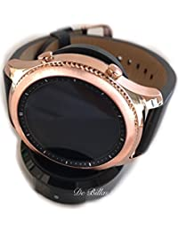 24K Rose Gold Samsung Gear S3 Smart Watch with Black Leather Band