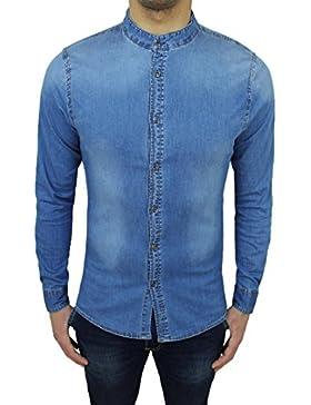 Camicia di jeans uomo denim chiara slim fit con colletto alla coreana