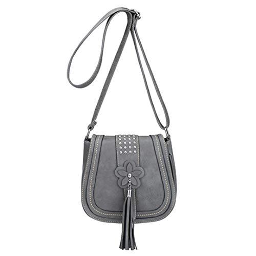 Kenneth Cole Designer-handtasche (Blume Quaste Frauen Taschen Designer-Handtaschen Niet Messenger Bags Pu-Leder Crossbody Umhängetasche Gray)