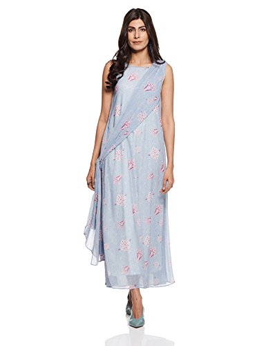 Rheson by Sonam & Rhea Kapoor Women's Saree Dress (AW17RHSHLPLDRBU_Blue_X-Small)