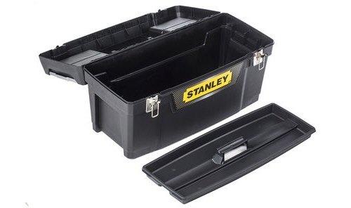 Stanley Werkzeugbox Metall Latch 25″, gummierte Metallschließen, ergonomischer Komfortgriff, Organizer, 1-94-859 - 3